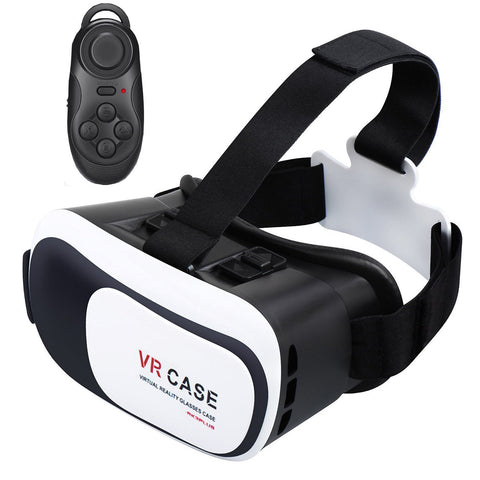 3D VR Virtual Reality Headset with Easy Pair Bluetooth Controller for Smartphones Android/iOS