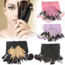 Makeup Brush Set with Case - 32 Essential Professional Pieces for Face, Blush, Foundation, Eye Shadow, Lip, Eyeliner, Powder, Blending