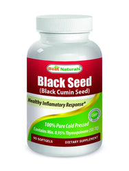 BEST NATURALS Black Seed Oil 500mg Black Cumin Seed 90 Softgels 100% Cold Pressed