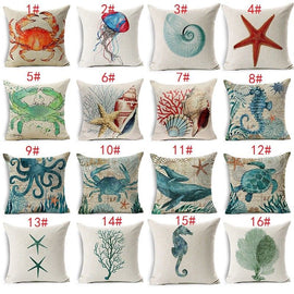 "18"" Sea Creature Cotton Linnen Pillow Case Home Bedroom Cushion Decor"