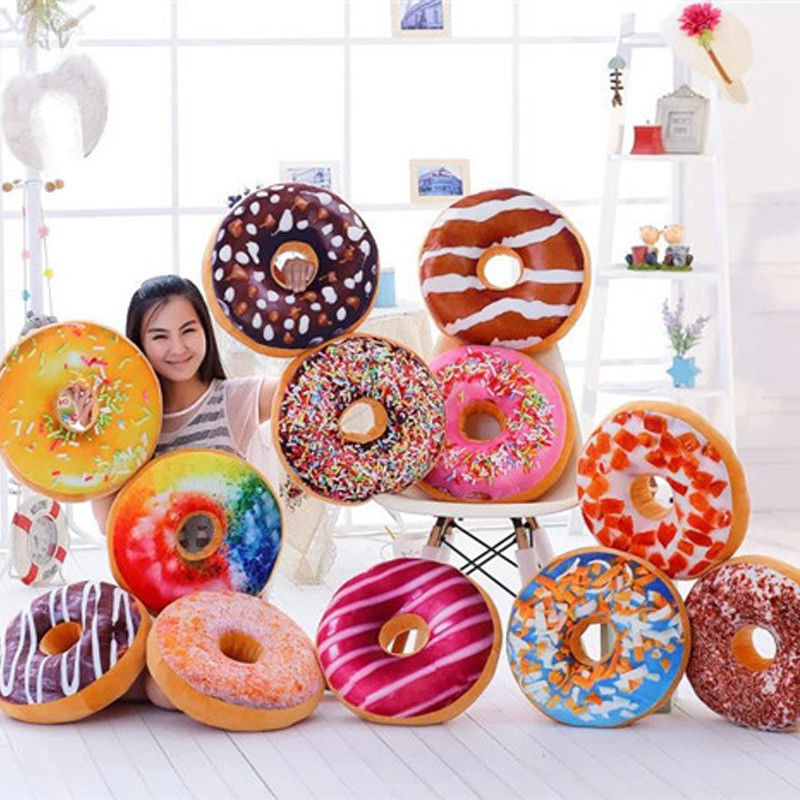 Colorful Donut Shaped Plush Pillow Food Cushion Cover Case