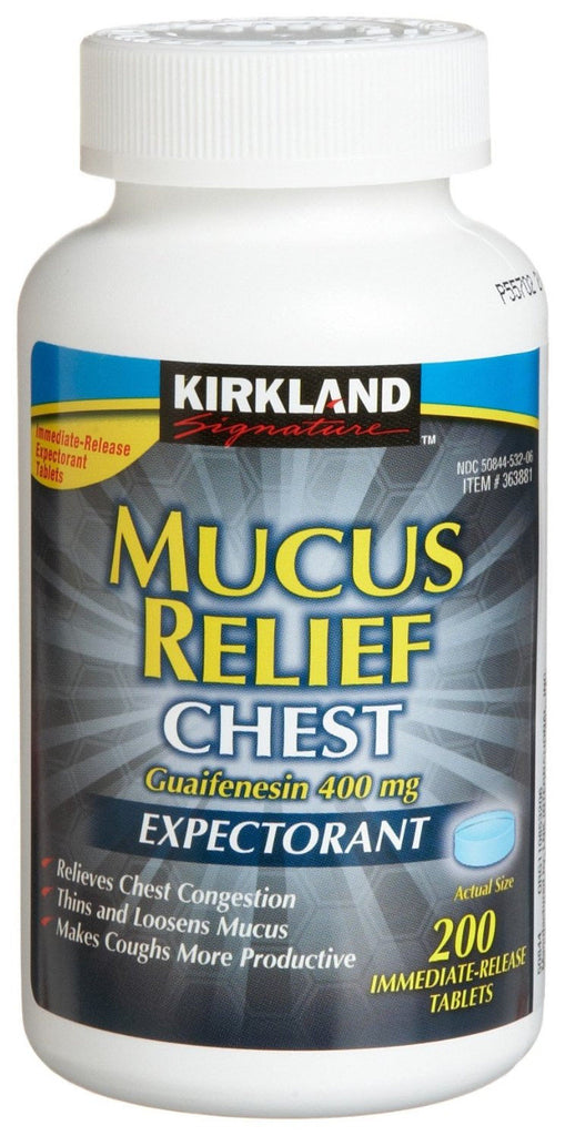 KIRKLAND Mucus Relief Chest Guaifenesin 400mg Expectorant 200 Tablets Relieves Congestion