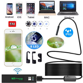 5-Meter WIFI Endoscope Inspection Camera Wireless 8 LED 8mm Camera for Smartphones Android / IOS