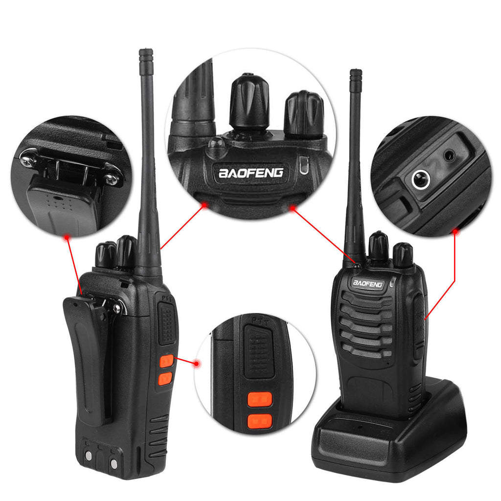 2PCS Durable 2-Way Long Range Walkie Talkie 16CH BF-888S UHF 400-470MHZ with Radio Earpiece