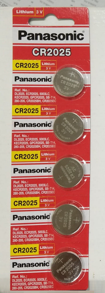 5pcs Strong and Long lasting Panasonic CR2025 Lithium Battery 3V Coin Cell