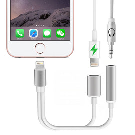 iPhone 7/ 7 Plus 2 in 1 Lightning to 3.5mm Headphone Earphone Jack Adapter Charge Cable