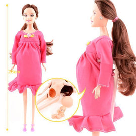 Education Real Pregnant Barbie Mom Doll - Have A Baby in Her Tummy Toys for Girls