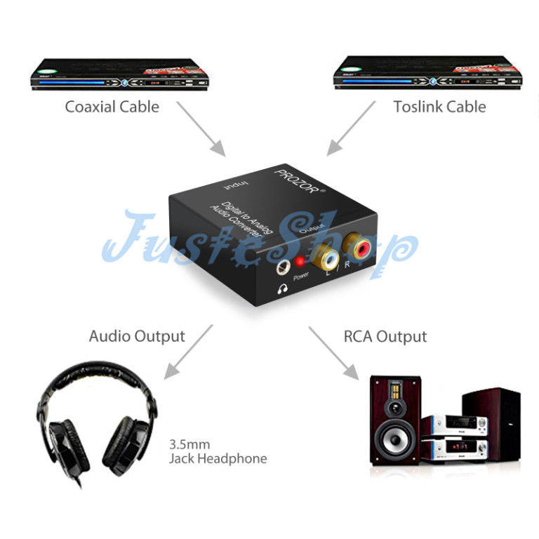 Digital Coaxial Optical Toslink Signal to Analog Audio Converter Adapter L/R RCA