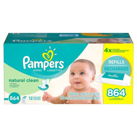 864-piece Natural and Clean Baby Wipes For Fresh Feelings All Day by Pampers
