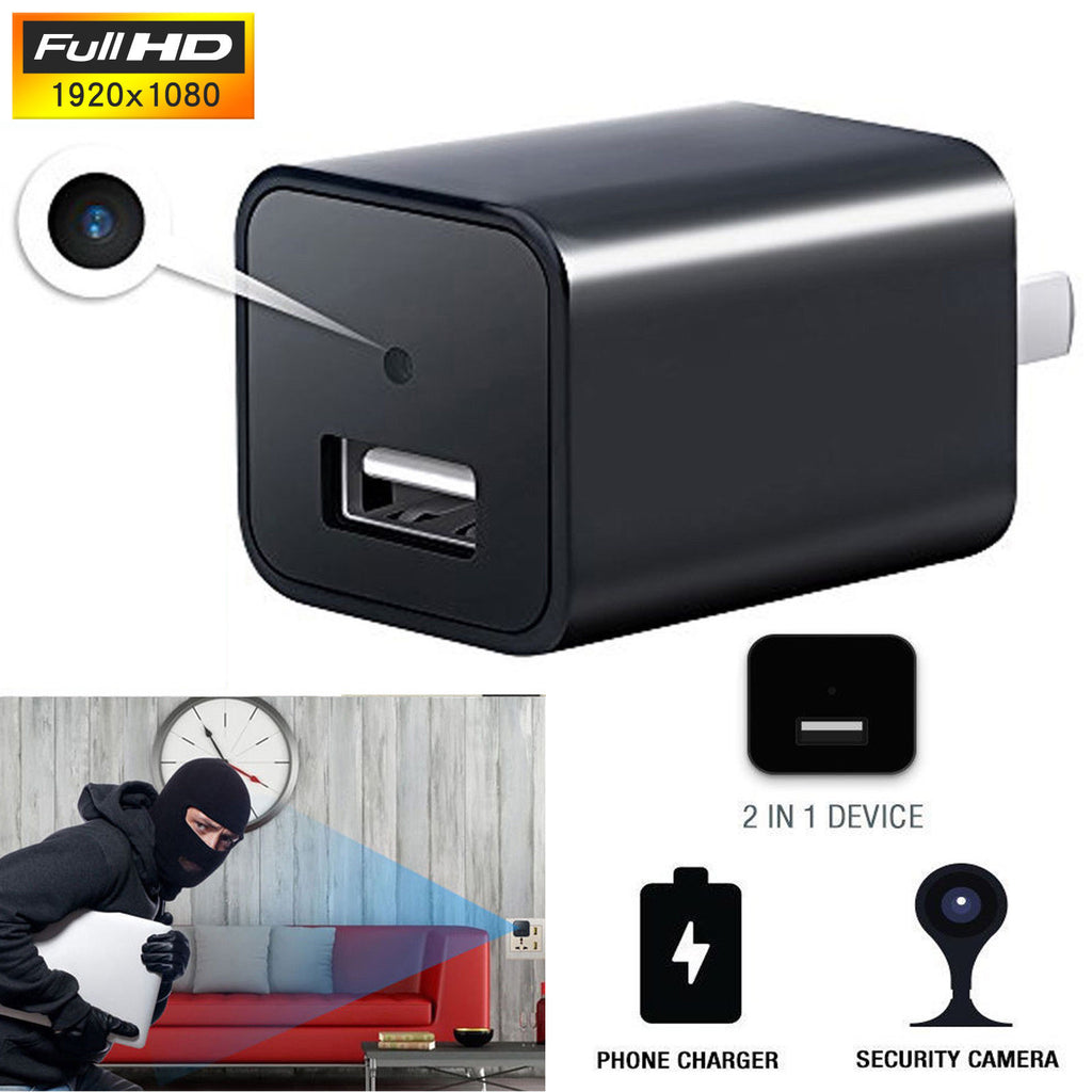 2-in-1 USB Wall Charger with 1080P Full HD Mini Spy Cam 32GB