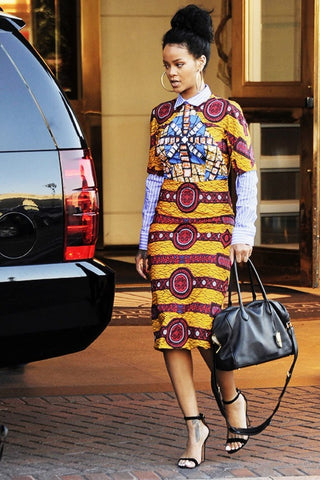 Rihanna in African Print Dress - Oludan