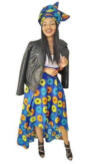 Blue Record African Print High Low Skirt - Oludan
