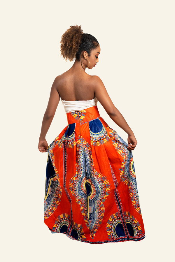 African Print Dupe Maxi Skirt - Orange/Blue - Oludan