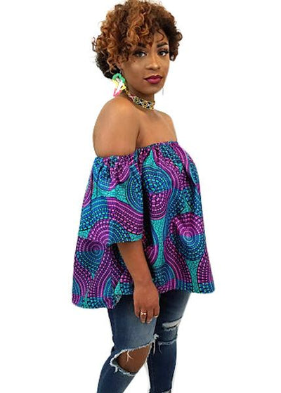 Swirly African Print Off The Shoulder Top (Purple/Blue) - Oludan