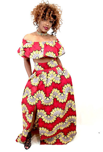 Rosa African Print Maxi Skirt With Right Slit - Oludan