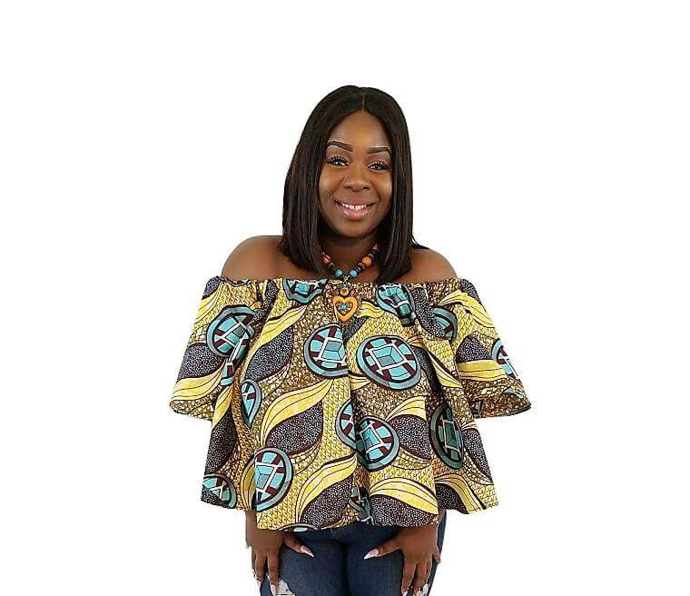 Abi African Print Off The Shoulder Top (Yellow/Brown) - Oludan