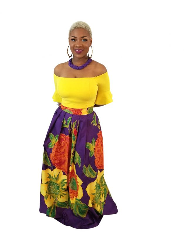 Annie African Print Floral Maxi Skirt - Purple/Yellow - Oludan