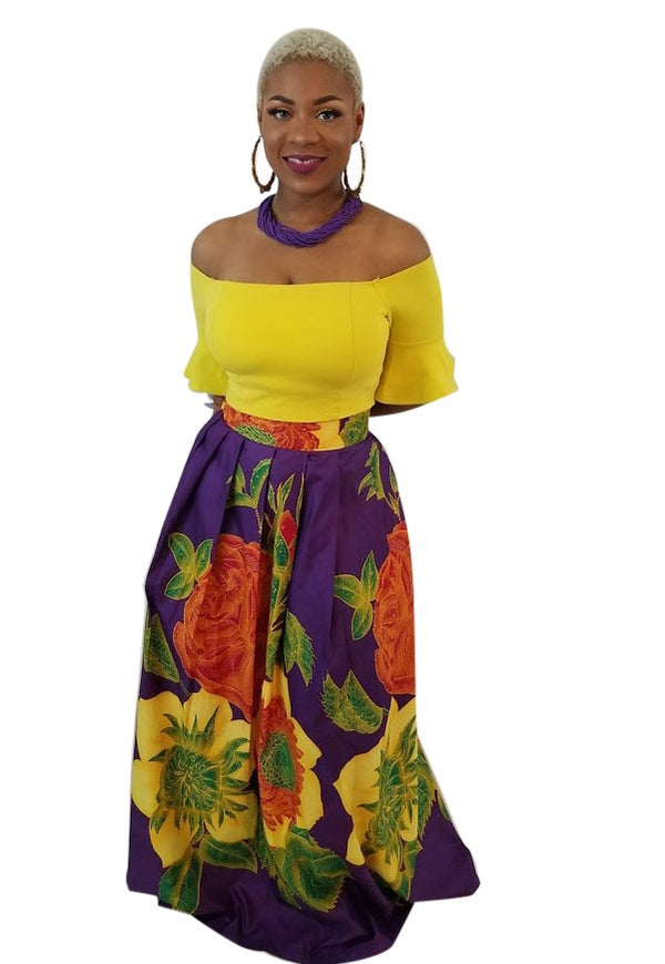 African Print Annie Floral Maxi Skirt - Purple/Yellow - Oludan