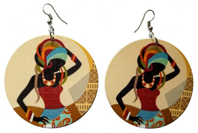 African Wura Wooden Earrings (Multicolored) - Oludan