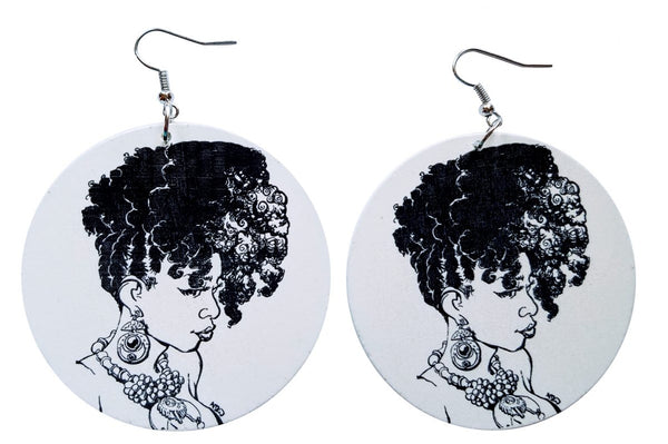 African Iyabo Wooden Earrings (Black/White) - Oludan