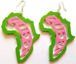 Akai Africa Shape Queen Earrings (Pink/Green) - Oludan