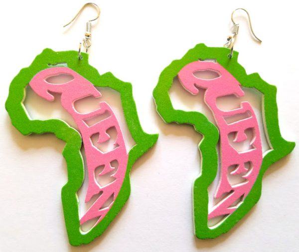 Africa Akai Shape Queen Earrings (Pink/Green) - Oludan