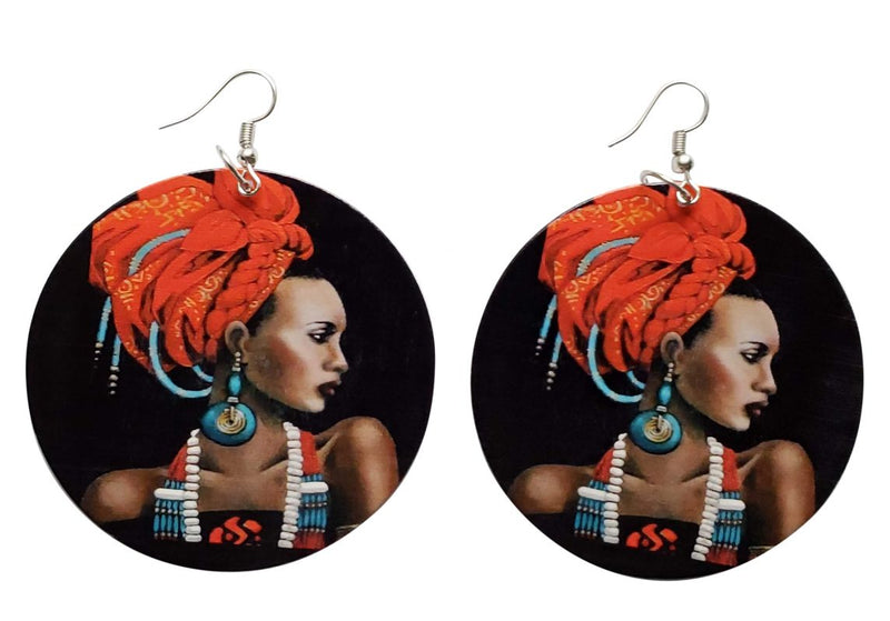 African Agidi Earrings (Black/Orange) - Oludan