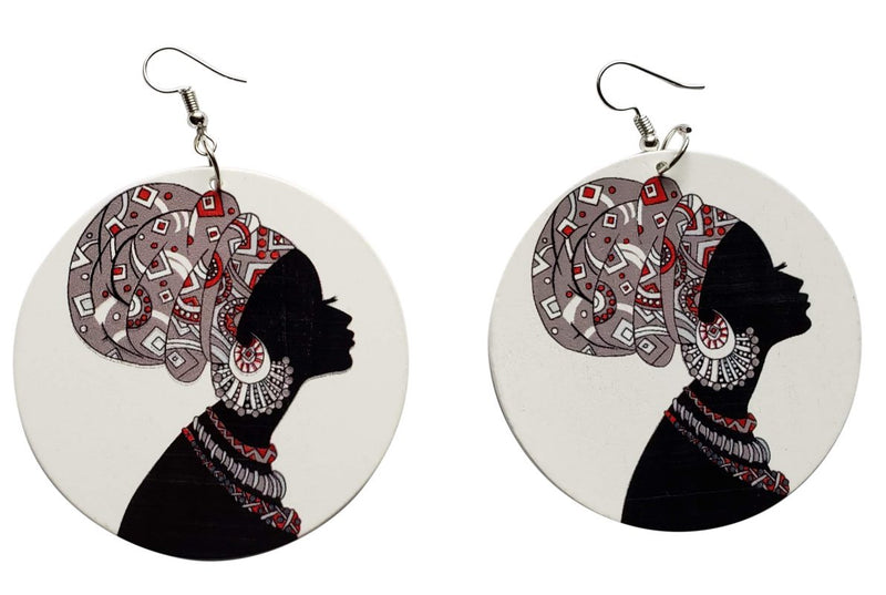 African Mami Earrings (White/Black) - Oludan
