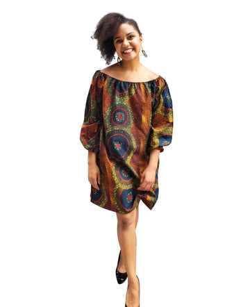 African Print Maya Off Shoulder Midi Dress With Stones
