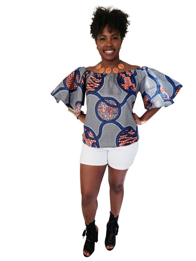 Dominique African Print Off-Shoulder Top - Oludan
