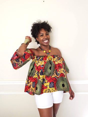 Aneidi African Print Off The Shoulder Top (Red/Green/Yellow) - Oludan