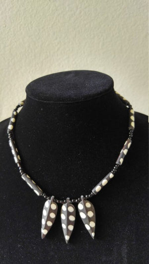 African Bone Batik White & Brown Necklace - Oludan