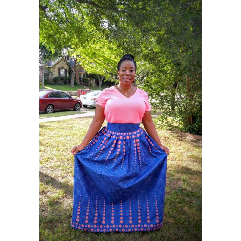 African Print Blue & Pink Maxi Skirt - Oludan