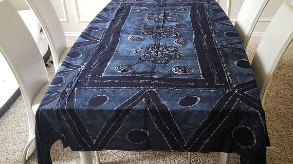 African Print Batik Tablecloth (Navy Blue) - Oludan