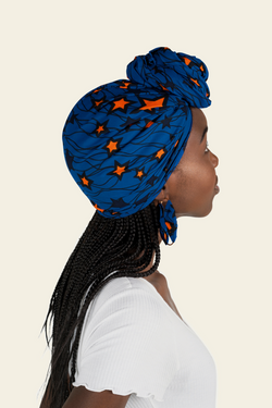 African Print Tinuke Head Wrap & Matching Earrings