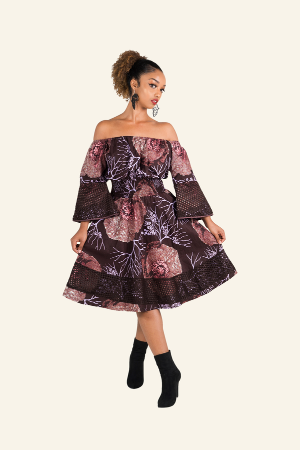 African Print Ude Midi Dress - Oludan