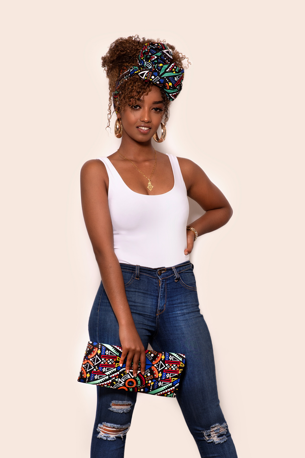 African Dara Head Wrap & Matching Clutch