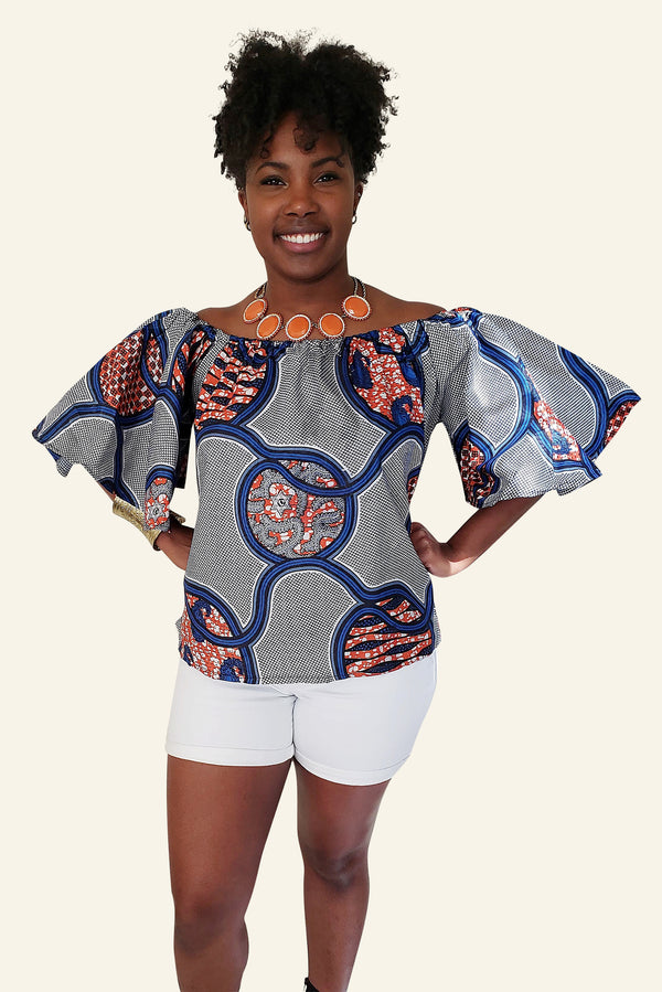 African Print Dominique Off Shoulder Top