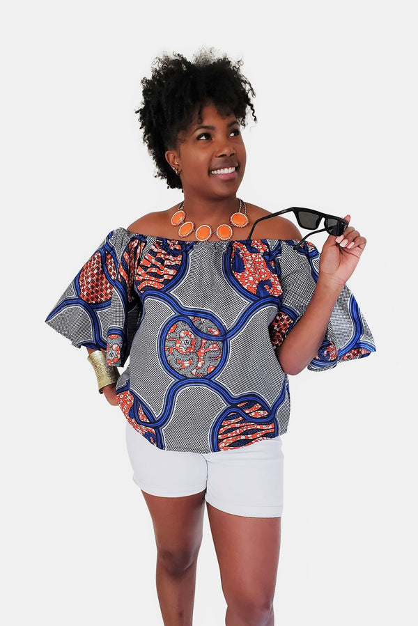 African Print Dominique Off Shoulder Top - Oludan