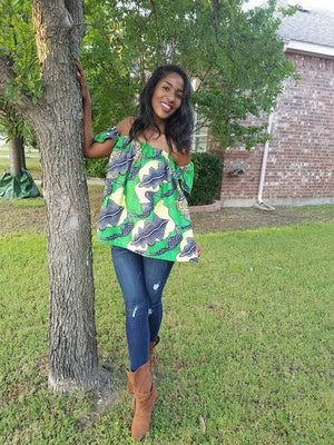 Green/Yellow Sleeveless African Print Off Shoulder Top