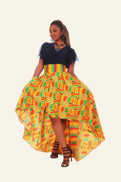 African Print High Low Mimi Skirt - Oludan