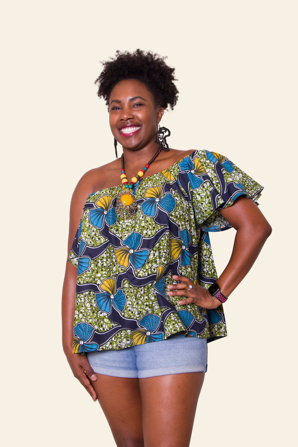 African Print Blue Abieyuwa Top