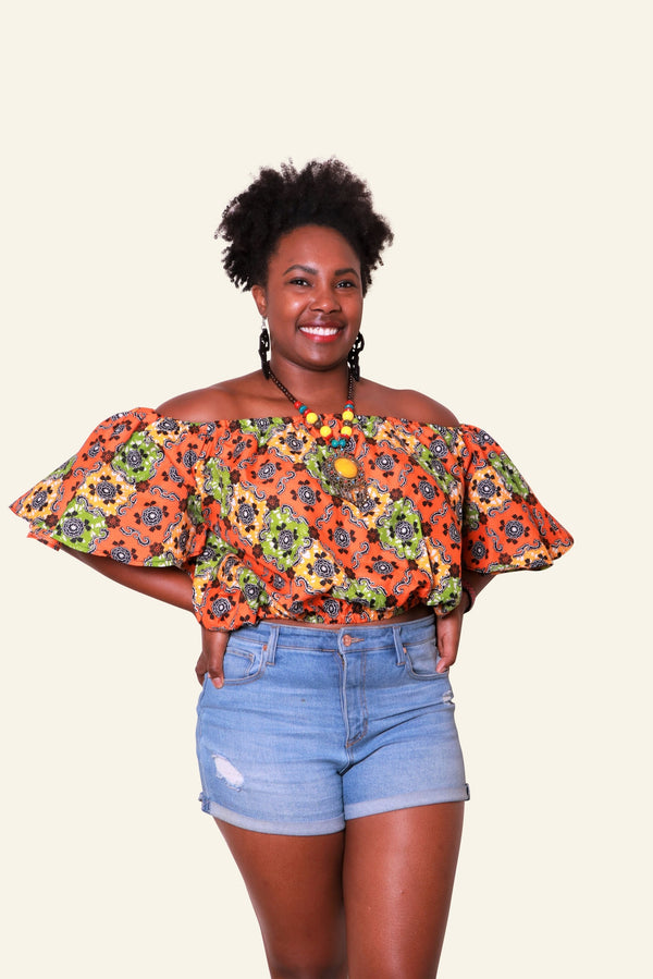 African Print Abeni Off Shoulder Top