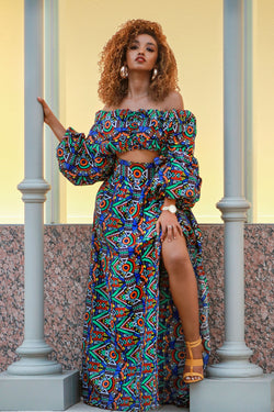 African Print Fanshe Cropped Top And Maxi Skirt Set