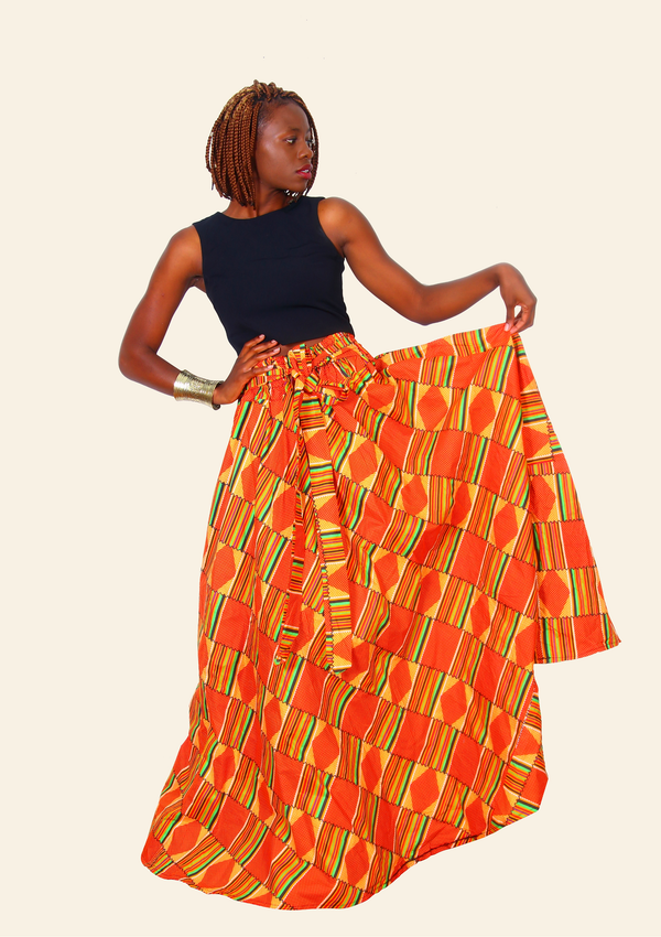 African Skirt Orange Kente With Elastic Waist