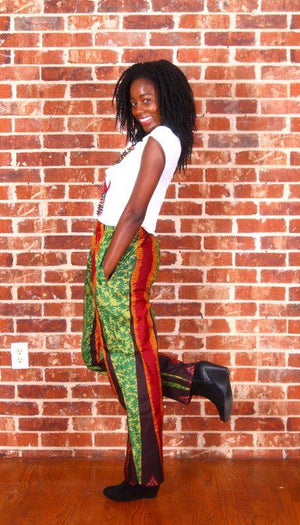 Uwaila African Print Striped Pants (Green/Brown) - Oludan