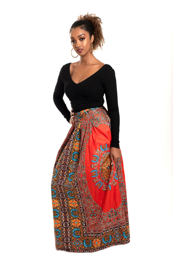 African Print Shola Wrap Maxi Skirt (Red) - Oludan