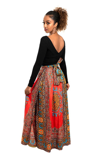 African Print Shola Wrap Maxi Skirt (Red)