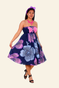 African Print Bimpe Midi Dress (Blue/Pink)