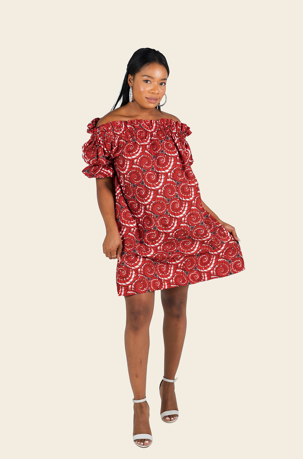 African Print Tayo Midi Dress With Stones
